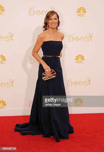 Actress Kim Dickens arrives at the 66th Annual Primetime Emmy Awards at Nokia Theatre LA Live on August 25 2014 in Los Angeles California