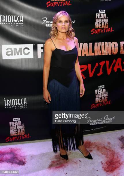 Actress Kim Dickens attends the Fear the Walking Dead Survival attraction grand opening at the Fremont Street Experience on August 29 2017 in Las...