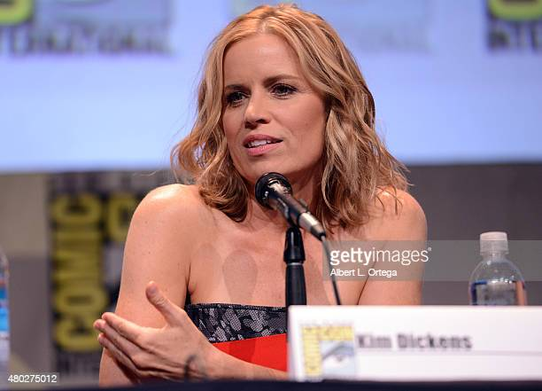Actress Kim Dickens speaks onstage at AMC's 'Fear the Walking Dead' panel during ComicCon International 2015 at the San Diego Convention Center on...