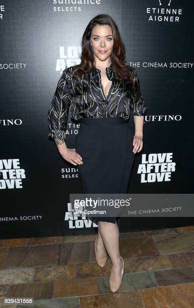 Actress Kim Director attends the screening of Sundance Selects' Love After Love hosted by The Cinema Society with Etienne Aigner and Ruffino at The...