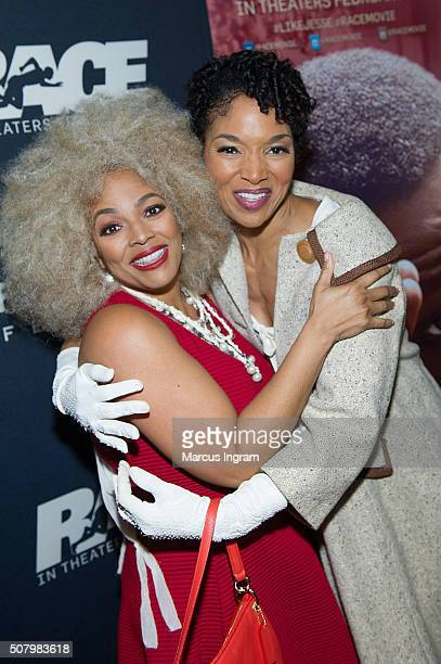Actress Kim Fields and Lisa Arrindell Anderson attend Race movie screening at Regal Atlantic Station on February 1 2016 in Atlanta Georgia