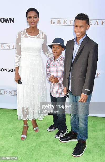Actress Kim Hawthorne and children arrive at the premiere of OWN's 'Greenleaf' at The Lot on June 15 2016 in West Hollywood California