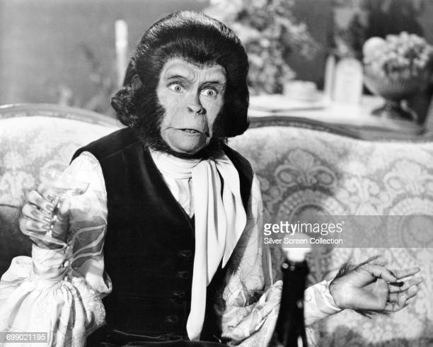Actress Kim Hunter as Zira partaking in a drink of champagne in a scene from the film 'Escape from the Planet of the Apes' 1971