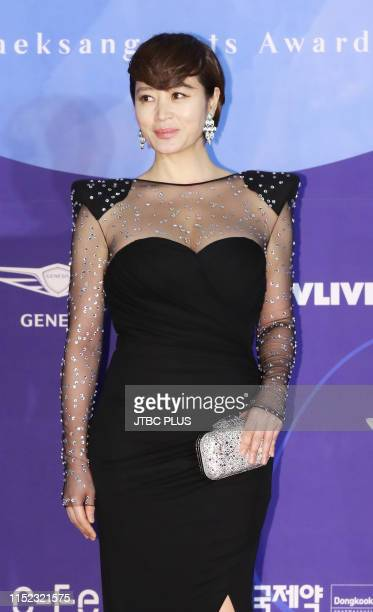 Actress Kim Hye Soo attends the red carpet event of the 55th Baeksang Arts Awards held at COEX in southern Seoul on May 1, 2019 in Seoul, South Korea.