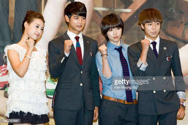 Actress Kim Ji-Won, Minho of South Korean boy band SHINee, Sulli of South Korean girl group f and actor Lee Hyun-Woo attend during a press conference...