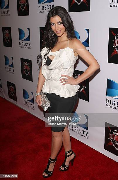 Actress Kim Kardashian attends DIRECTV's Championship Gaming Series kick off party for the world final series at Barker Hanger on July 15, 2008 in...