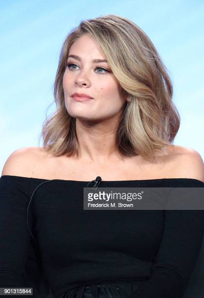 Actress Kim Matula of the television show LA To Vegas speaks onstage during the FOX portion of the 2018 Winter Television Critics Association Press...