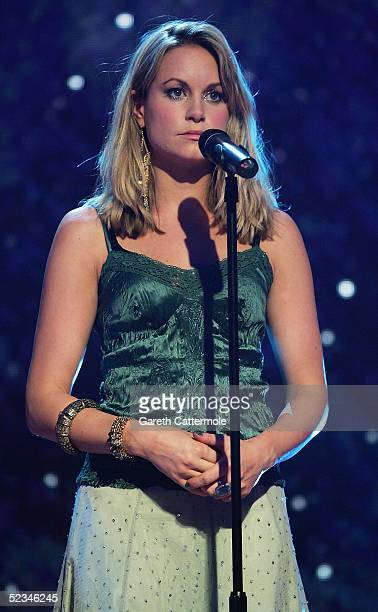 Actress Kim Medcalf of EastEnders rehearses ahead of the ninth eviction show for Comic Relief Does Fame Academy at Lambeth College on March 9 2005 in...