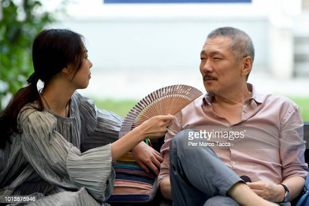 Actress Kim Minhee and Director Hong Sangsoo attend the 'Gangbyub Hotel' photocall during the 71st Locarno Film Festival on August 9 2018 in Locarno...