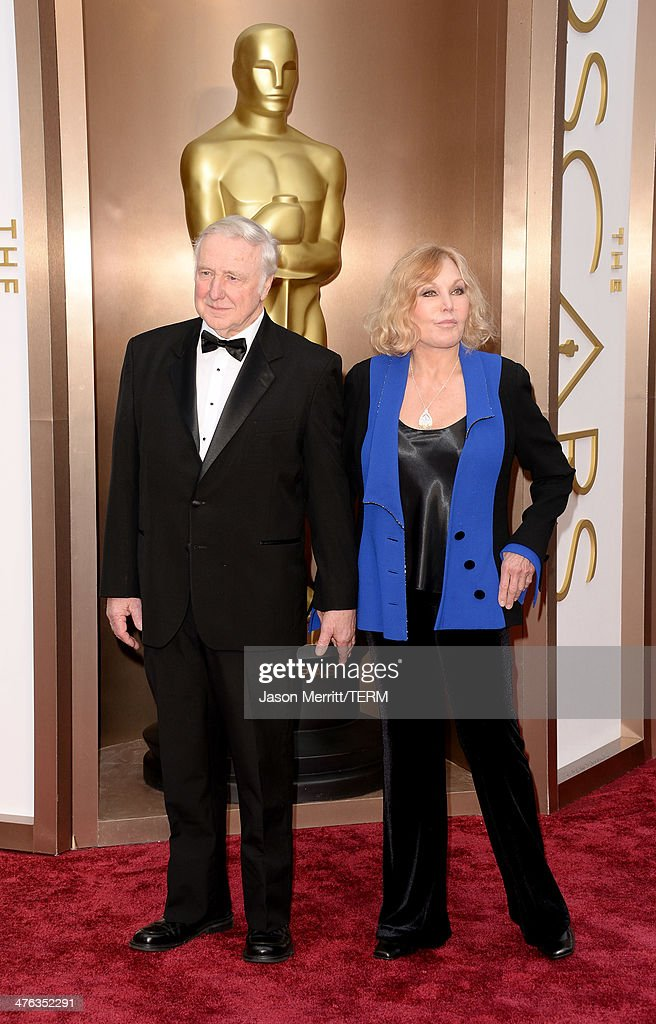 Actress Kim Novak (R) and guest attend the Oscars held at Hollywood & Highland Center on March 2, 2014 in Hollywood, California.
