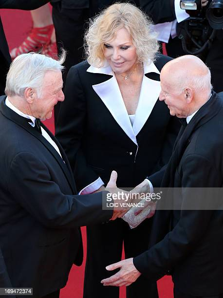 US actress Kim Novak and her husband Robert Malloy are welcomed on May 25 2013 by the President of the Cannes International Film Festival Gilles...