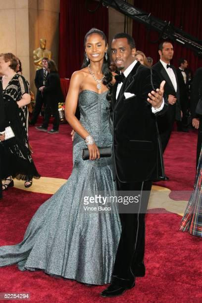 Actress Kim Porter and mogul Sean Puffy Combs arrives at the 77th Annual Academy Awards at the Kodak Theater on February 27 2005 in Hollywood...