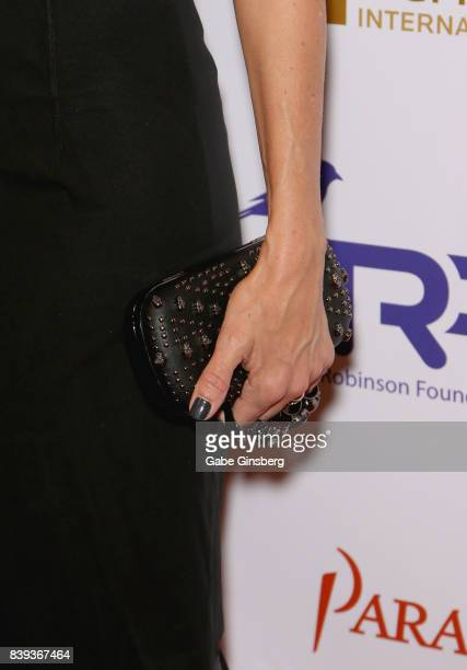 Actress Kim Raver purse detail attends the fourth annual Tyler Robinson Foundation gala benefiting families affected by pediatric cancer at Caesars...