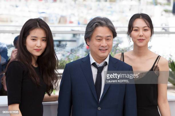 Actress Kim TaeRi director Park ChanWook and actress Kim MinHee attend 'The Handmaiden ' photocall during the 69th annual Cannes Film Festival at the...