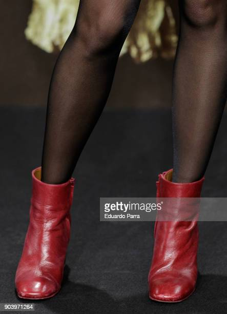Actress Kimberley Tell boots detail attends the 'La peste' premiere at Callao cinema on January 11 2018 in Madrid Spain