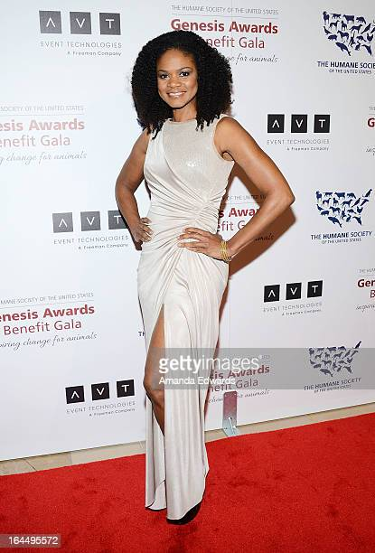 Actress Kimberly Elise arrives at The Humane Society's 2013 Genesis Awards Benefit Gala at The Beverly Hilton Hotel on March 23 2013 in Beverly Hills...