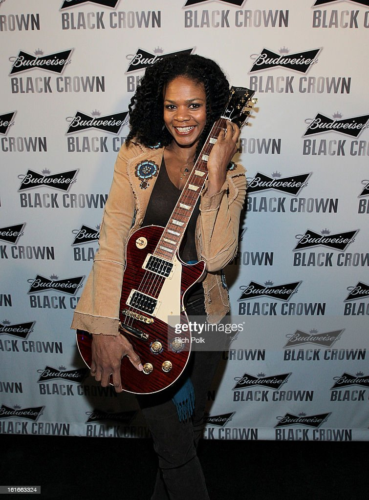 Actress Kimberly Elise attends the Budweiser Black Crown Launch Party at gibson/baldwin showroom on February 13, 2013 in Los Angeles, California.