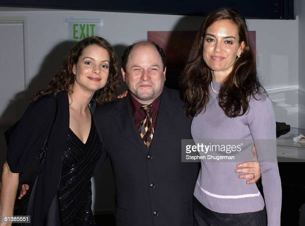 Actress Kimberly Williams actor Jason Alexander and actress Jennifer Grant attend the reception for the Edgemar Center For The Arts Annual Fundraiser...