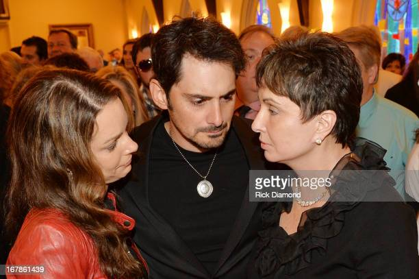 Actress Kimberly WilliamsPaisley actor Brad Paisley and Nancy Jones attend the private visitation for George Jones on May 1 2013 in Nashville...
