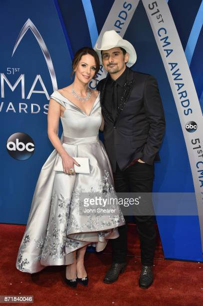 Actress Kimberly WilliamsPaisley and singersongwriter Brad Paisley attends the 51st annual CMA Awards at the Bridgestone Arena on November 8 2017 in...