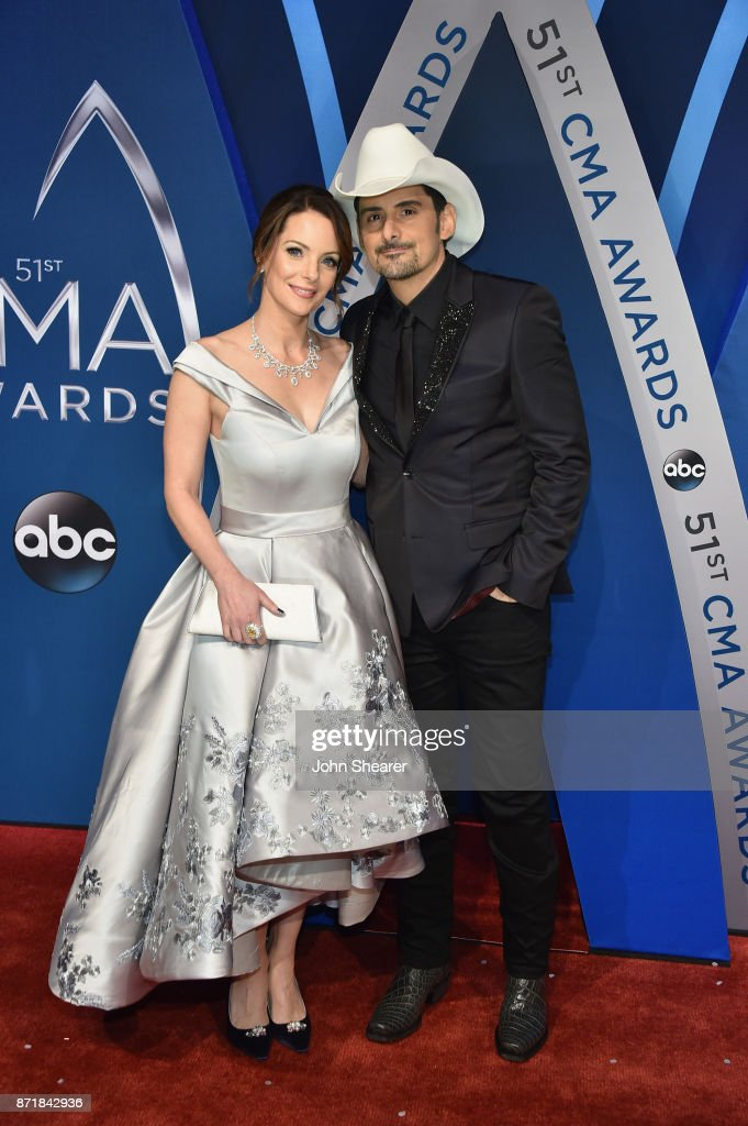 Actress Kimberly Williams-Paisley and singer-songwriter Brad Paisley attends the 51st annual CMA Awards at the Bridgestone Arena on November 8, 2017 in Nashville, Tennessee.