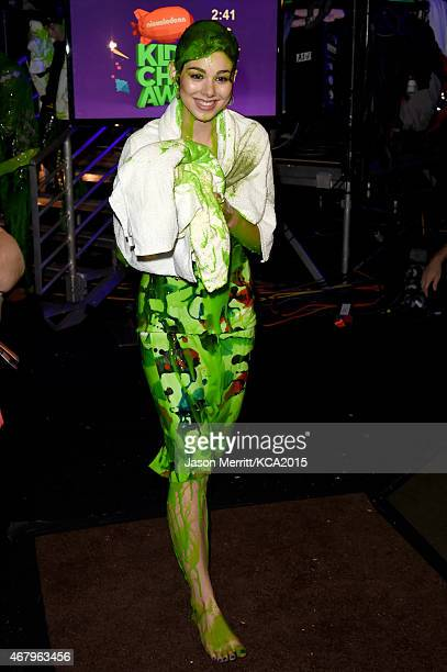 Actress Kira Kosarin after getting slimed onstage attends Nickelodeon's 28th Annual Kids' Choice Awards held at The Forum on March 28 2015 in...