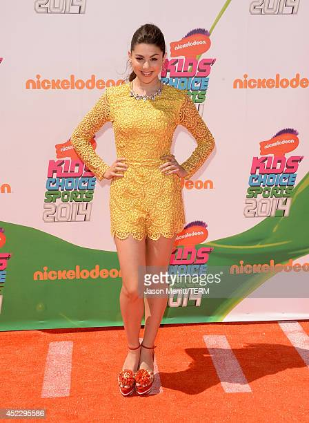 Actress Kira Kosarin attends Nickelodeon Kids' Choice Sports Awards 2014 at UCLA's Pauley Pavilion on July 17 2014 in Los Angeles California