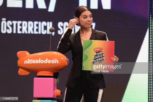 US actress Kira Kosarin is seen on stage at the Nickelodeon Kids Choice Awards on April 4 2019 in Rust Germany