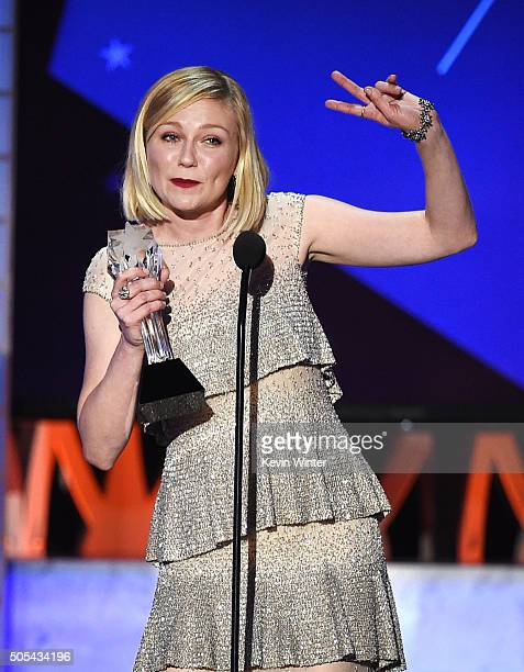 Actress Kirsten Dunst accepts Best Actress in a Movie Made for Television or Limited Series award for 'Fargo' onstage during the 21st Annual Critics'...
