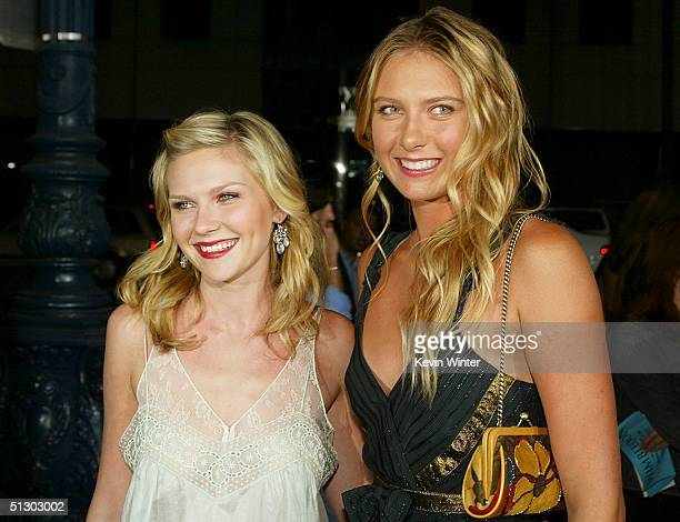 Actress Kirsten Dunst and Wimbledon champions Maria Sharapova attend the world premiere of the Universal Feature Wimbledon at the Academy of Motion...