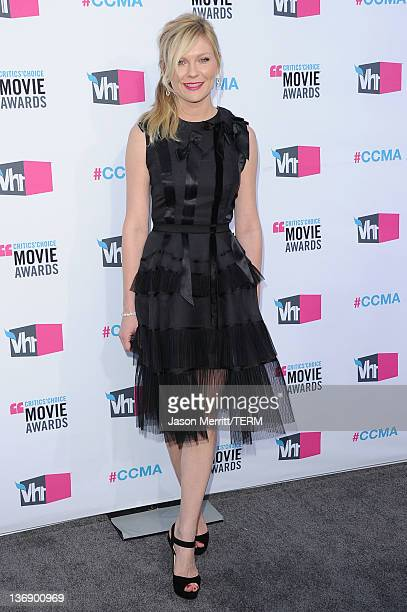 Actress Kirsten Dunst arrives at the 17th Annual Critics' Choice Movie Awards held at The Hollywood Palladium on January 12 2012 in Los Angeles...