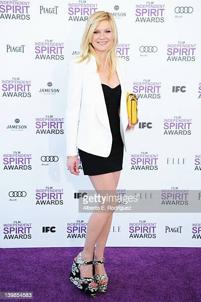 Actress Kirsten Dunst arrives at the 2012 Film Independent Spirit Awards on February 25 2012 in Santa Monica California