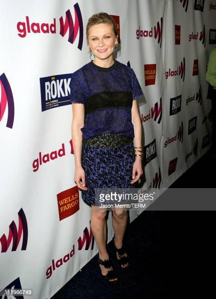 Actress Kirsten Dunst arrives at the 22nd Annual GLAAD Media Awards presented by ROKK Vodka at Los Angeles' Westin Bonaventure on April 10, 2011 in...