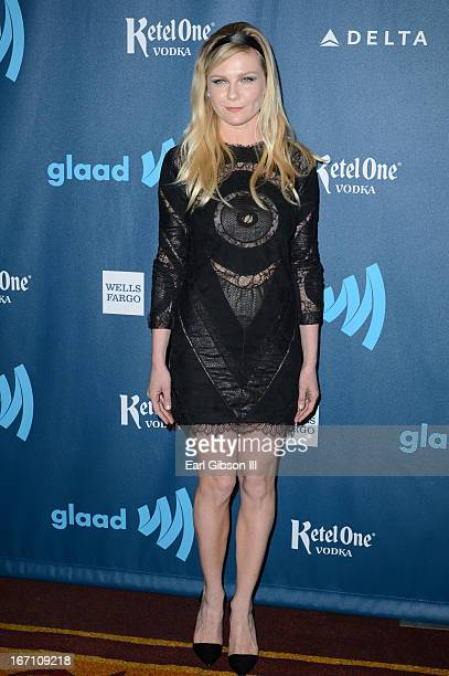 Actress Kirsten Dunst arrives at the 24th Annual GLAAD Media Awards at JW Marriott Los Angeles at LA LIVE on April 20 2013 in Los Angeles California