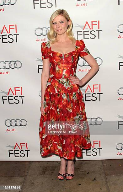 Actress Kirsten Dunst arrives at the Melancholia special screening during AFI FEST 2011 presented by Audi held at the Egyptian Theatre on November 6...