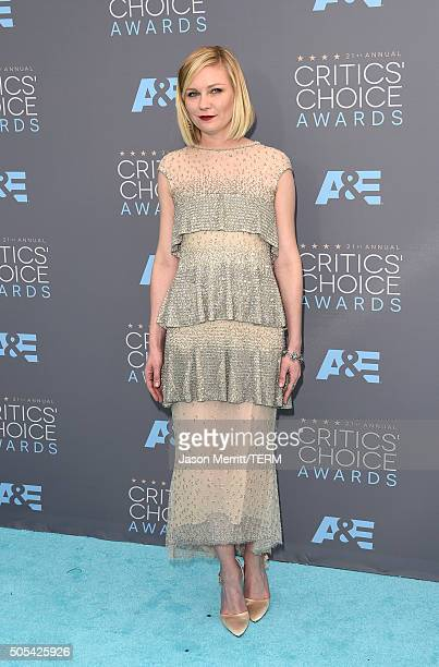 Actress Kirsten Dunst attends the 21st Annual Critics' Choice Awards at Barker Hangar on January 17 2016 in Santa Monica California