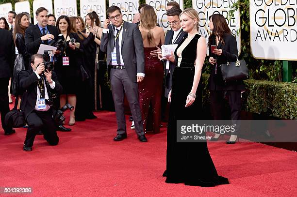 Actress Kirsten Dunst attends the 73rd Annual Golden Globe Awards held at the Beverly Hilton Hotel on January 10, 2016 in Beverly Hills, California.