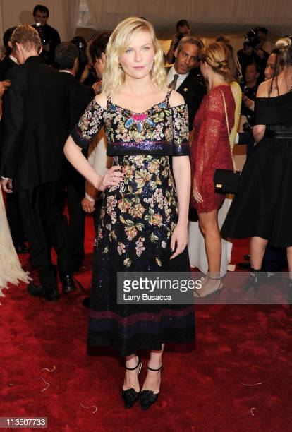 Actress Kirsten Dunst attends the Alexander McQueen Savage Beauty Costume Institute Gala at The Metropolitan Museum of Art on May 2 2011 in New York...