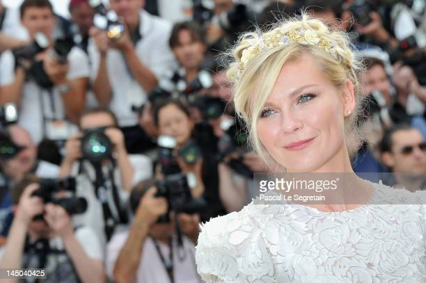 Actress Kirsten Dunst attends the 'On The Road' Photocall during the 65th Annual Cannes Film Festival at Palais des Festivals on May 23 2012 in...