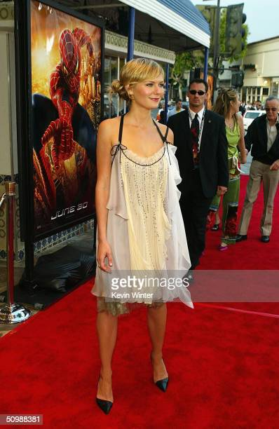 Actress Kirsten Dunst attends the premiere of the Sony film 'SpiderMan 2' on June 22 2004 at the Mann Village Theater in Westwood California