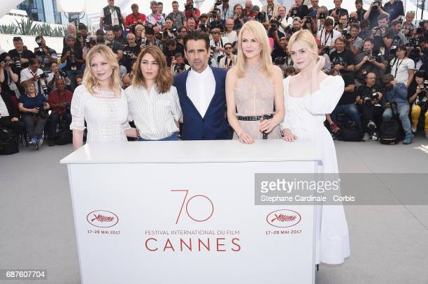 Actress Kirsten Dunst director Sofia Coppola and actors Colin Farrell Nicole Kidman Elle Fanning attend 'The Beguiled' photocall during the 70th...