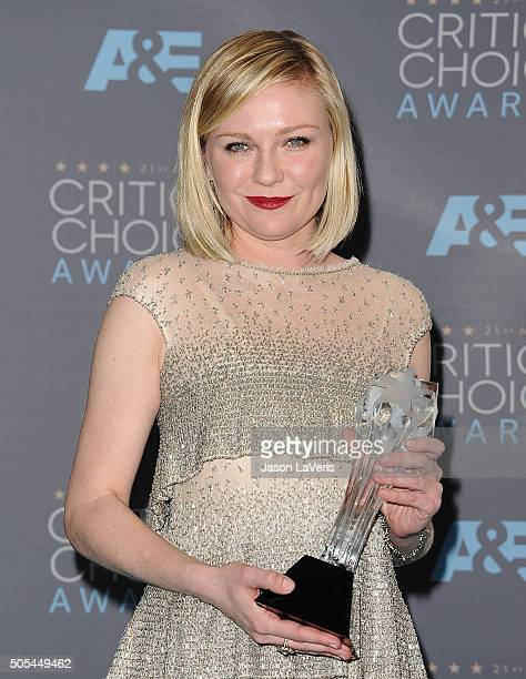 Actress Kirsten Dunst poses in the press room at the 21st annual Critics' Choice Awards at Barker Hangar on January 17 2016 in Santa Monica California