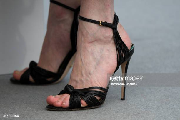 Actress Kirsten Dunst shoe detail attends 'The Beguiled' photocall during the 70th annual Cannes Film Festival at Palais des Festivals on May 24 2017...