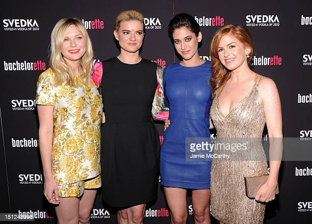 "Actress Kirsten Dunst, writer/director Leslye Headland, actress Lizzy Caplan and actress Isla Fisher attend the ""Bachelorette"" New York Premiere at..."