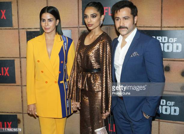 Actress Kirti Kulhari and Sobhita Dhulipala and Emraan Hashmi attends the screening of Netflix new web series Bard of Blood on September 23 2019 in...