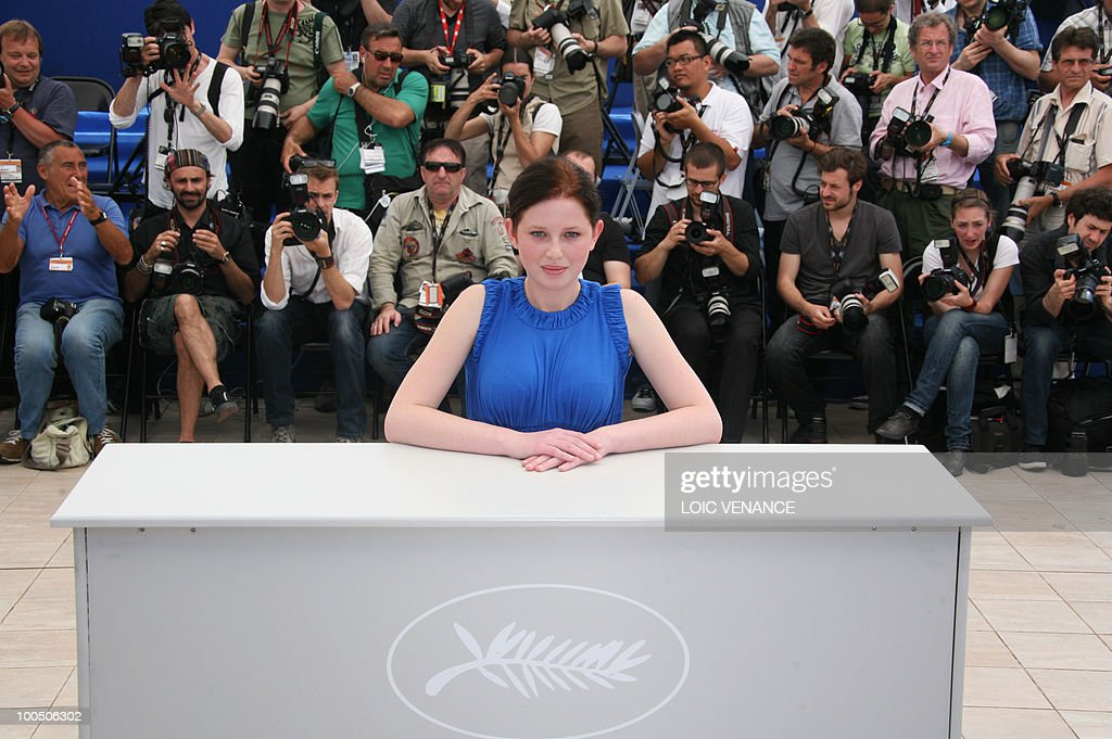 Actress Kitty Csikos poses during the photocall of 'Szelid Teremtes - A Frankenstein Terv' (Tender Son - The Frankenstein Project) presented in competition at the 63rd Cannes Film Festival on May 22, 2010 in Cannes.