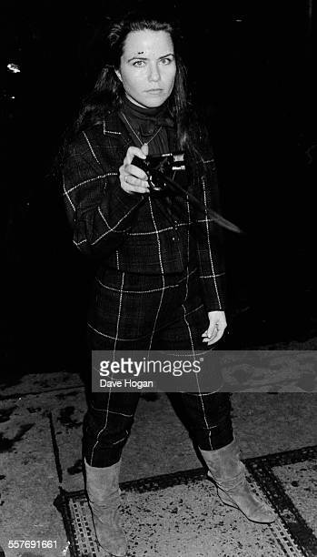 Actress Koo Stark confronting a paparazzi photographer Dave Hogan outside the Hippodrome London February 1st 1984