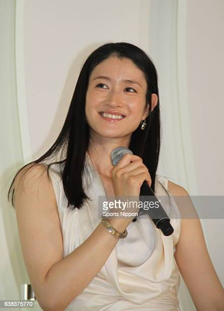 Actress Koyuki attends Max Factor Sk2 promotional event on July 1 2013 in Tokyo Japan