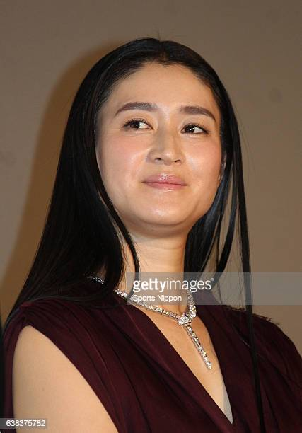Actress Koyuki attends opening day stage greeting of film 'Chiune Sugihara' on December 5 2015 in Tokyo Japan