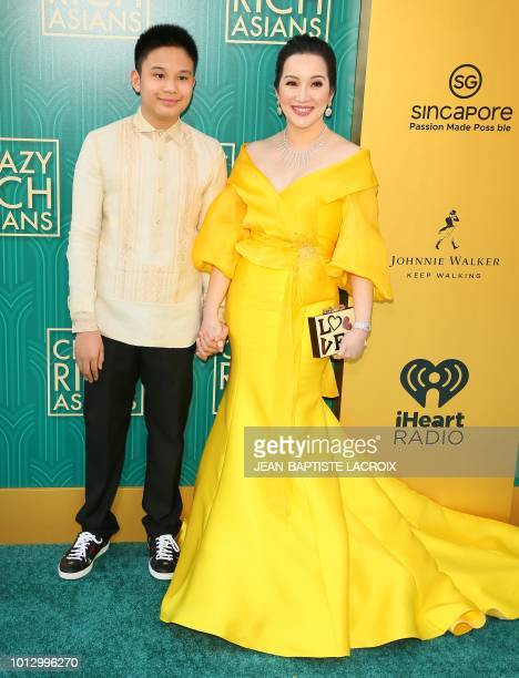 Actress Kris Aquino and her son actor Bimby Aquino Yap attends the premiere of Warner Bros Pictures' 'Crazy Rich Asians' in Hollywood California on...